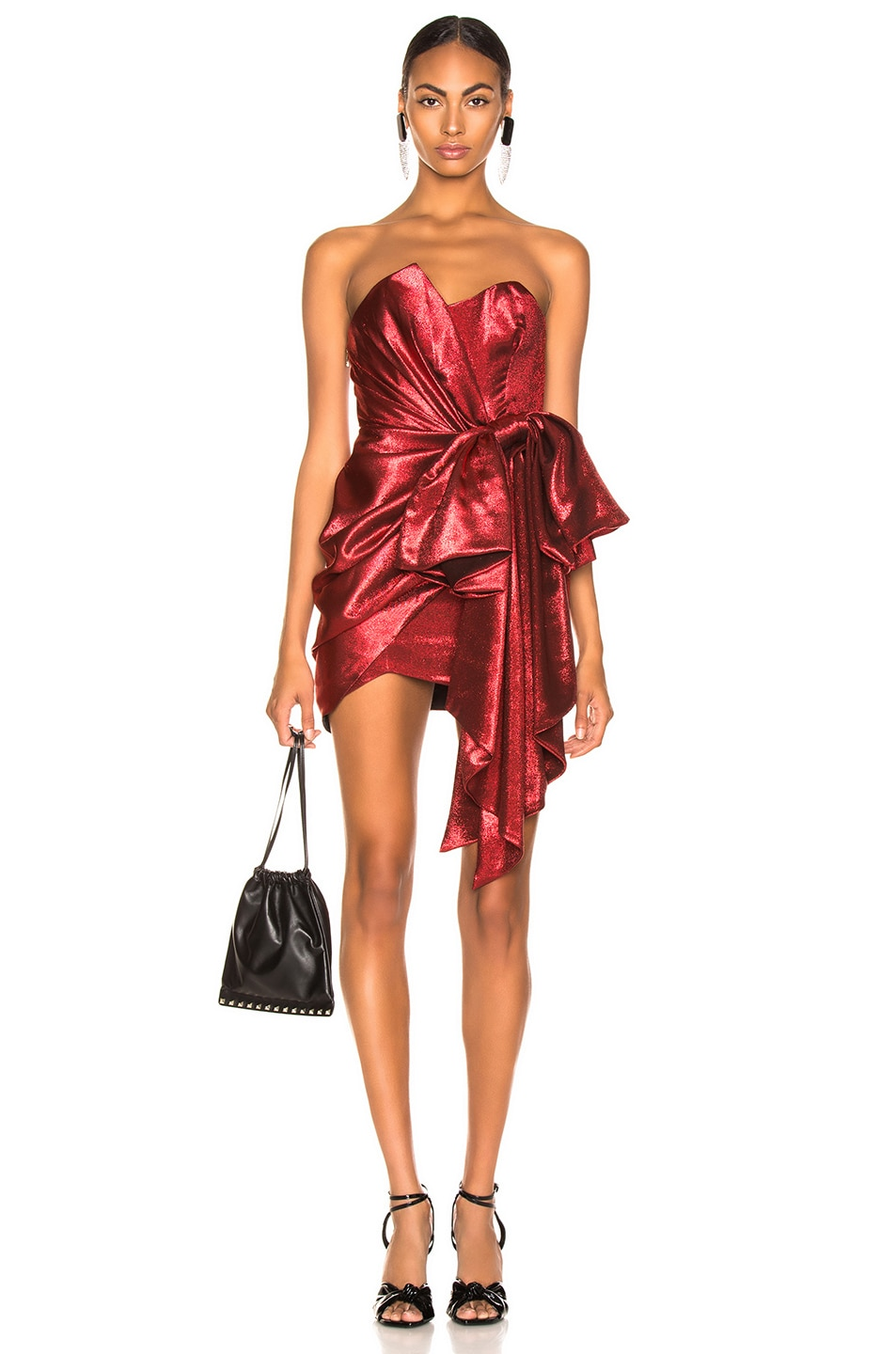 5ec61889861 Image 1 of Alexandre Vauthier Lame Bow Strapless Mini Dress in Scarlet