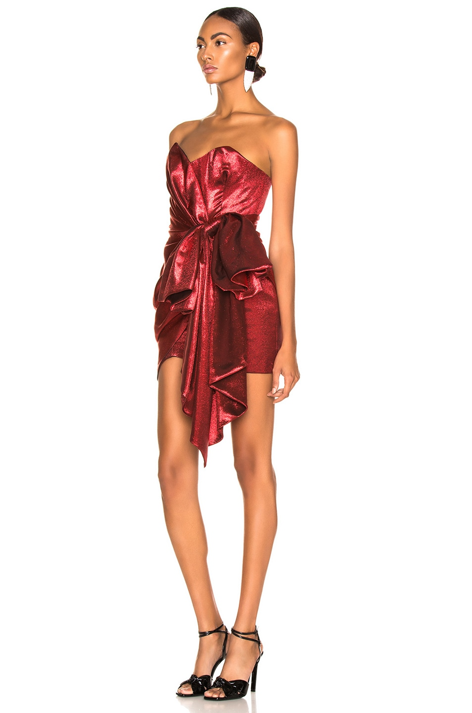 Image 3 of Alexandre Vauthier Lame Bow Strapless Mini Dress in Scarlet