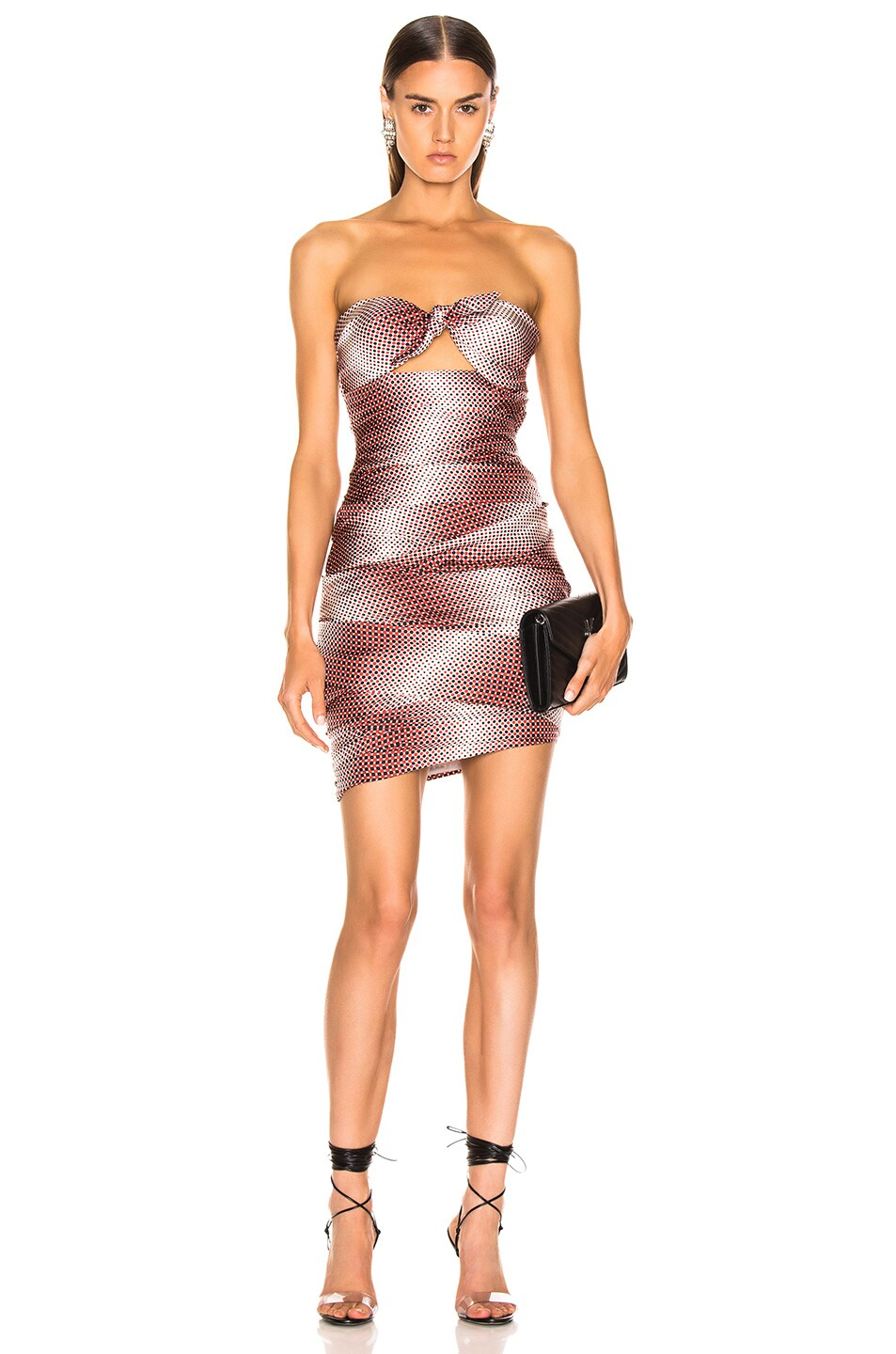 Image 1 of Alexandre Vauthier Dot Twill Strapless Dress in Ruby