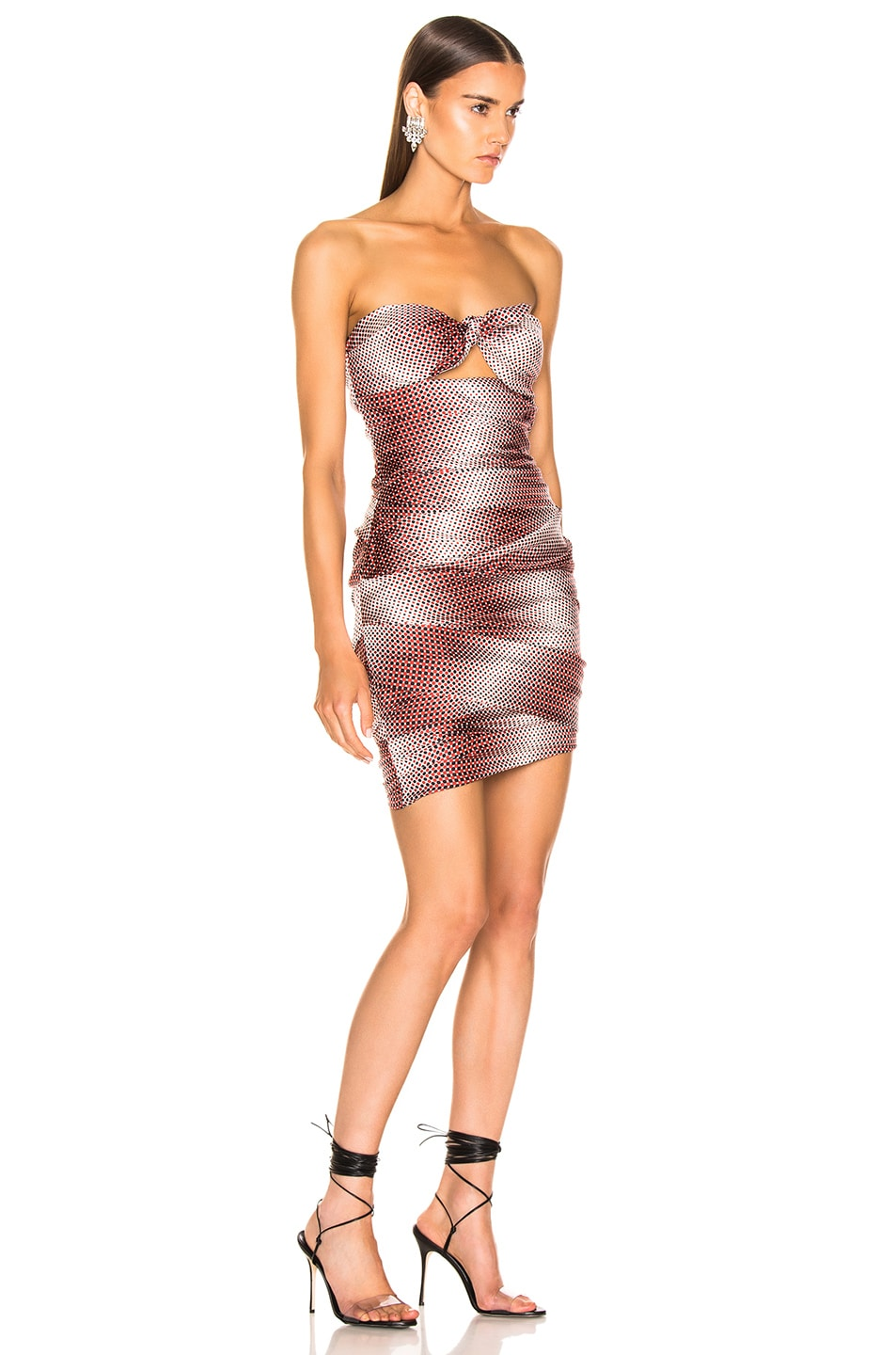 Image 2 of Alexandre Vauthier Dot Twill Strapless Dress in Ruby