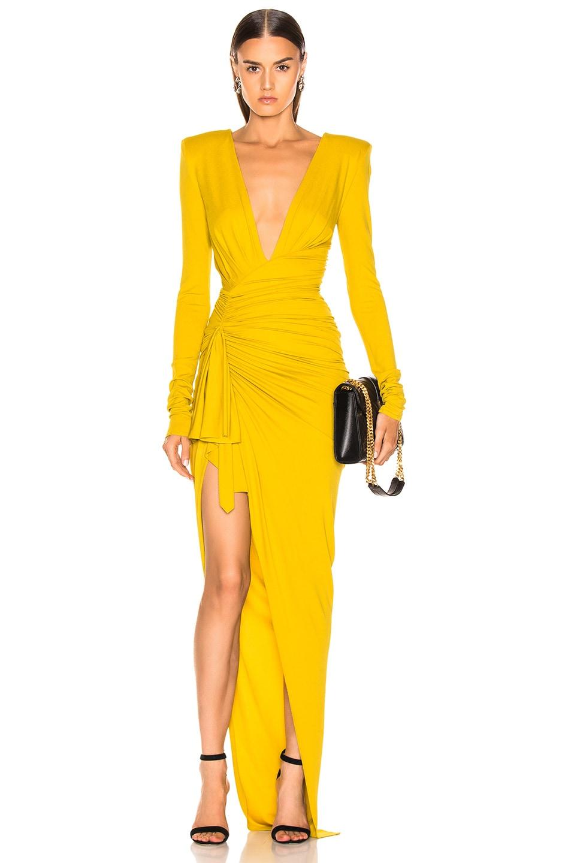 Image 1 of Alexandre Vauthier Jersey Side Slit Dress in Goldenrod