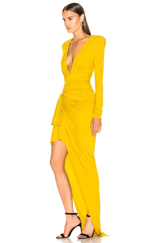 Image 3 of Alexandre Vauthier Jersey Side Slit Dress in Goldenrod