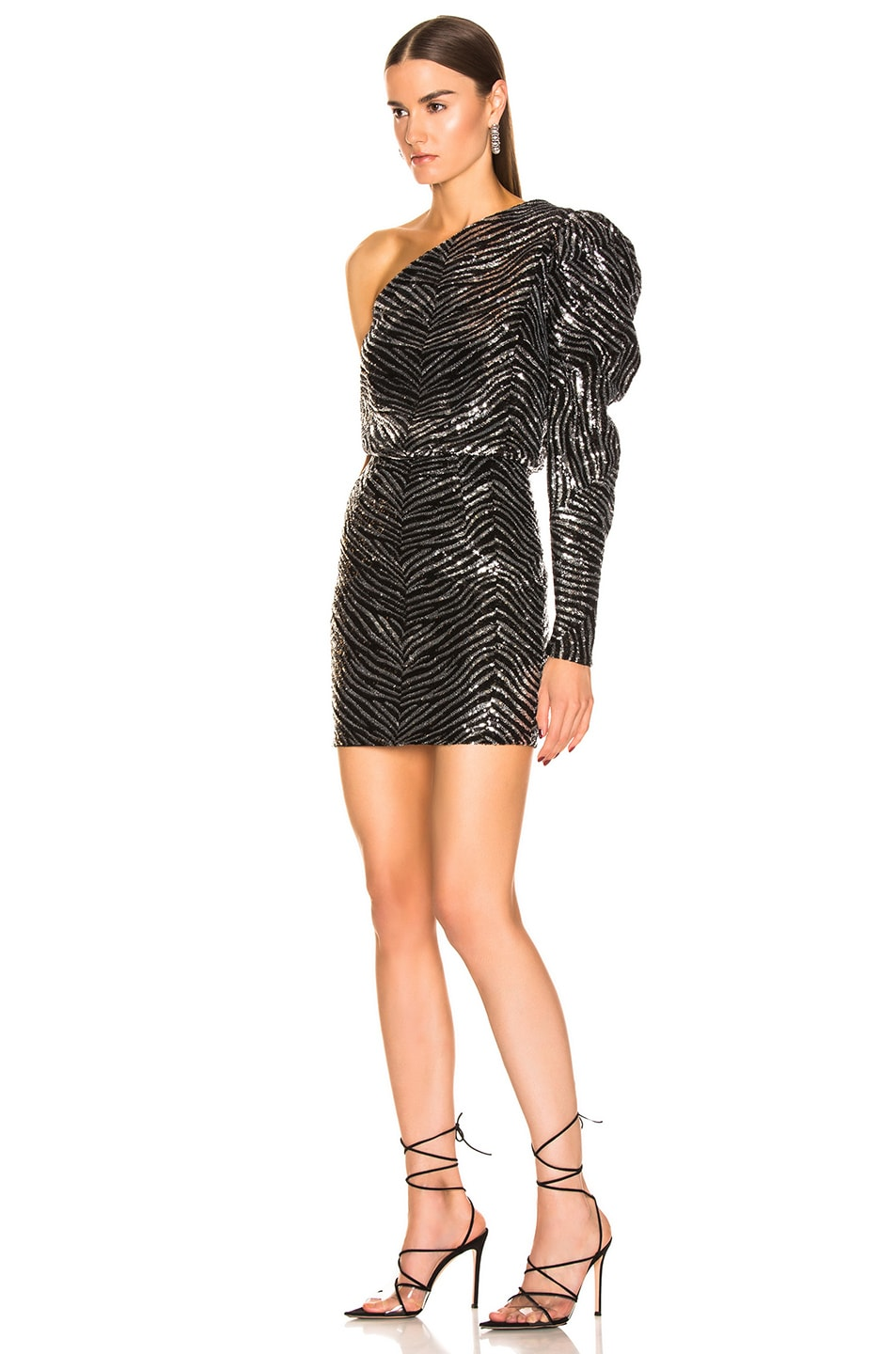 Image 3 of Alexandre Vauthier Zebra Embroidered Mini Dress in Silver
