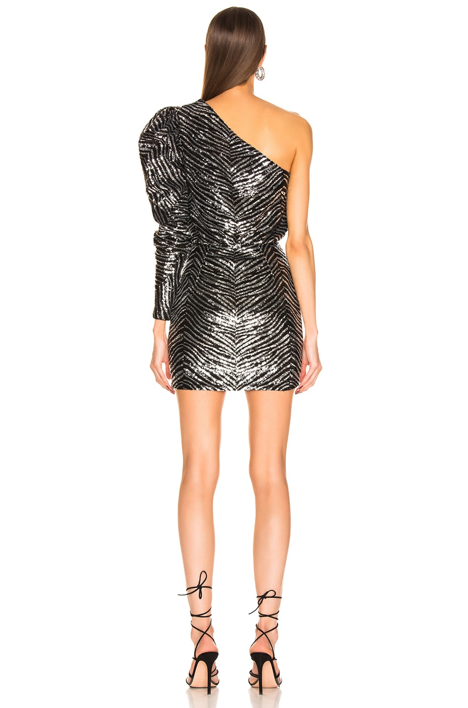 Image 4 of Alexandre Vauthier Zebra Embroidered Mini Dress in Silver