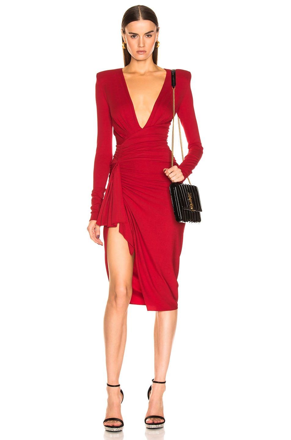 Image 1 of Alexandre Vauthier Jersey Mini Dress in Ruby