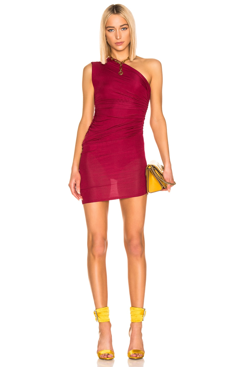 Image 1 of Alexandre Vauthier Rib Jersey Mini Dress in Ruby