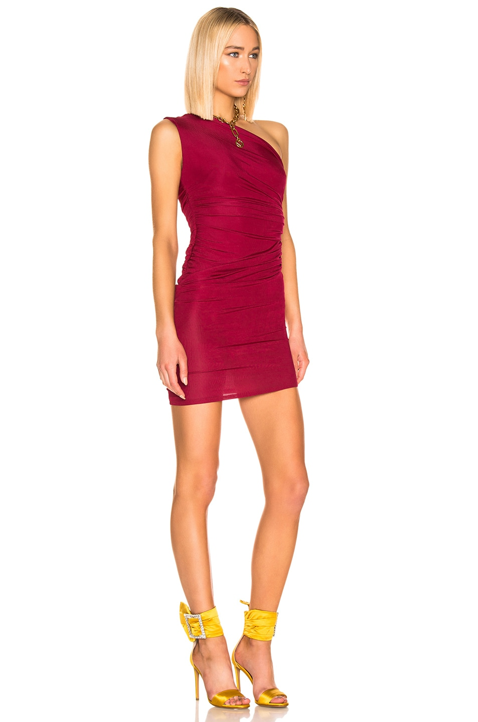 Image 2 of Alexandre Vauthier Rib Jersey Mini Dress in Ruby