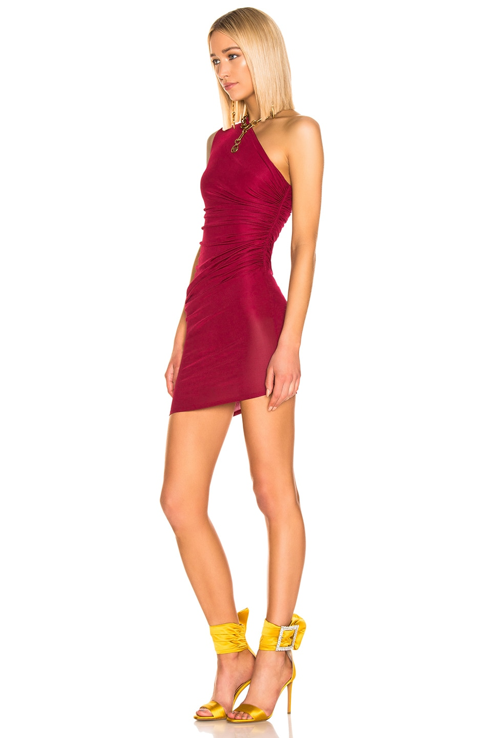 Image 3 of Alexandre Vauthier Rib Jersey Mini Dress in Ruby