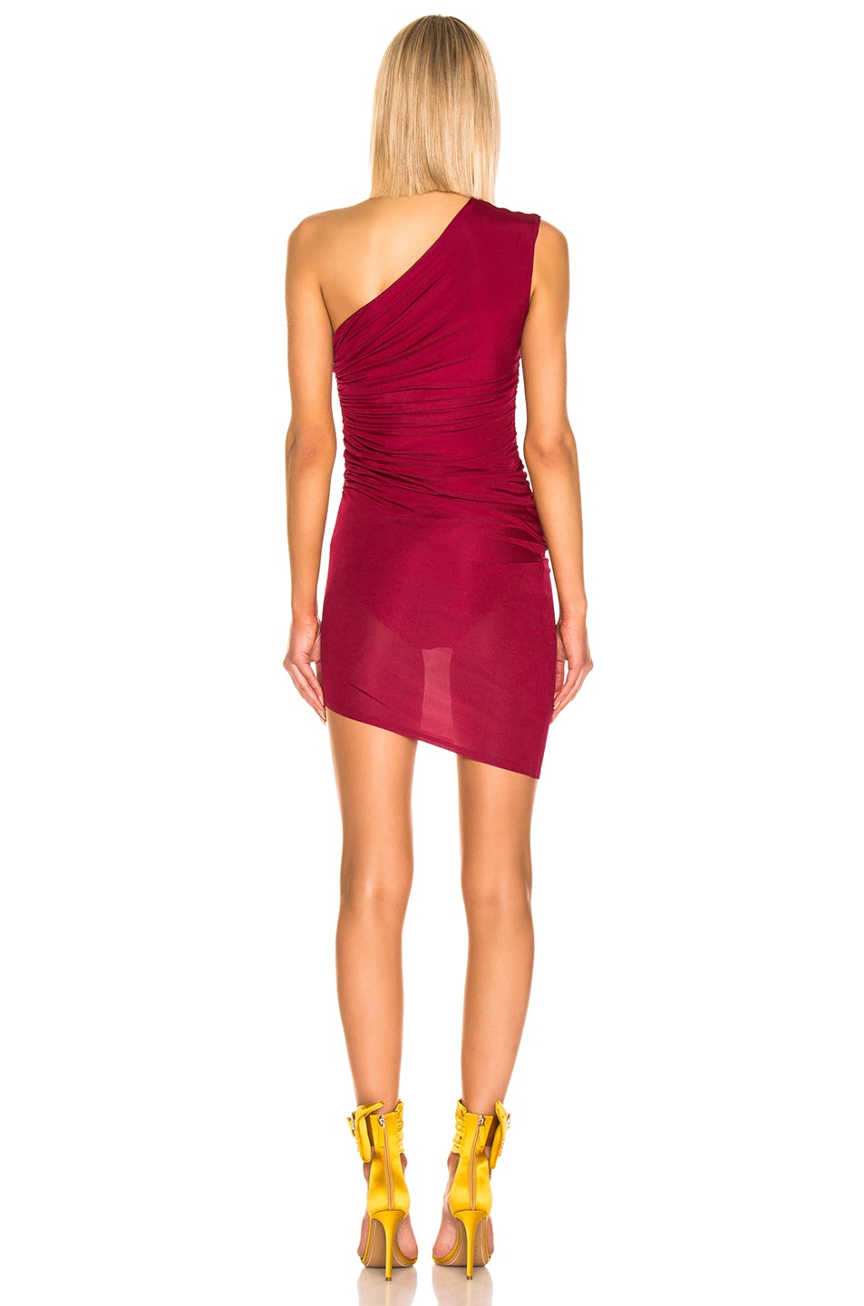 Image 4 of Alexandre Vauthier Rib Jersey Mini Dress in Ruby