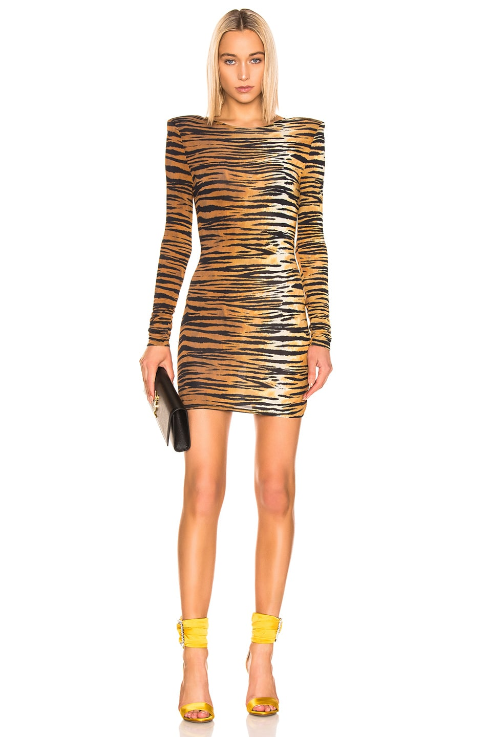 Image 1 of Alexandre Vauthier Long Sleeve Mini Dress in Tiger