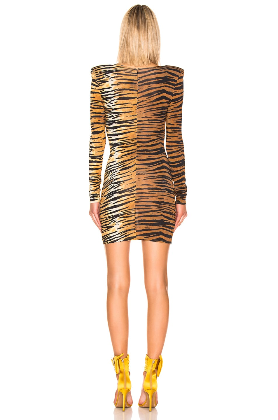 Image 3 of Alexandre Vauthier Long Sleeve Mini Dress in Tiger