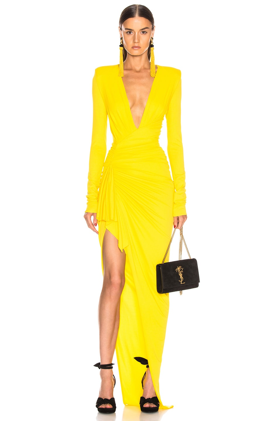 Image 1 of Alexandre Vauthier Jersey Ruched Dress in Lemon