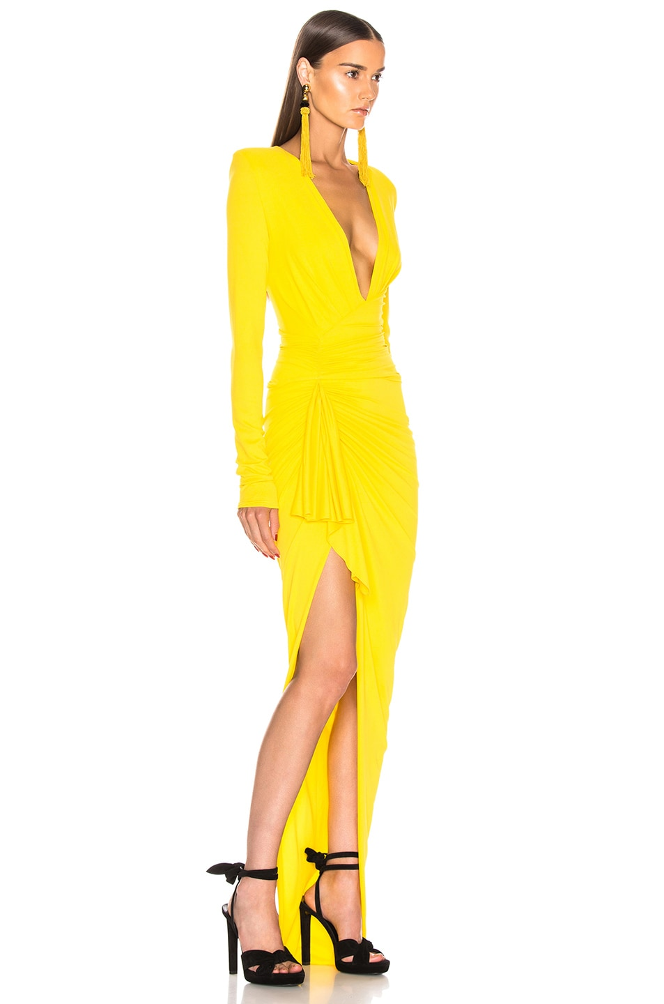 Image 2 of Alexandre Vauthier Jersey Ruched Dress in Lemon