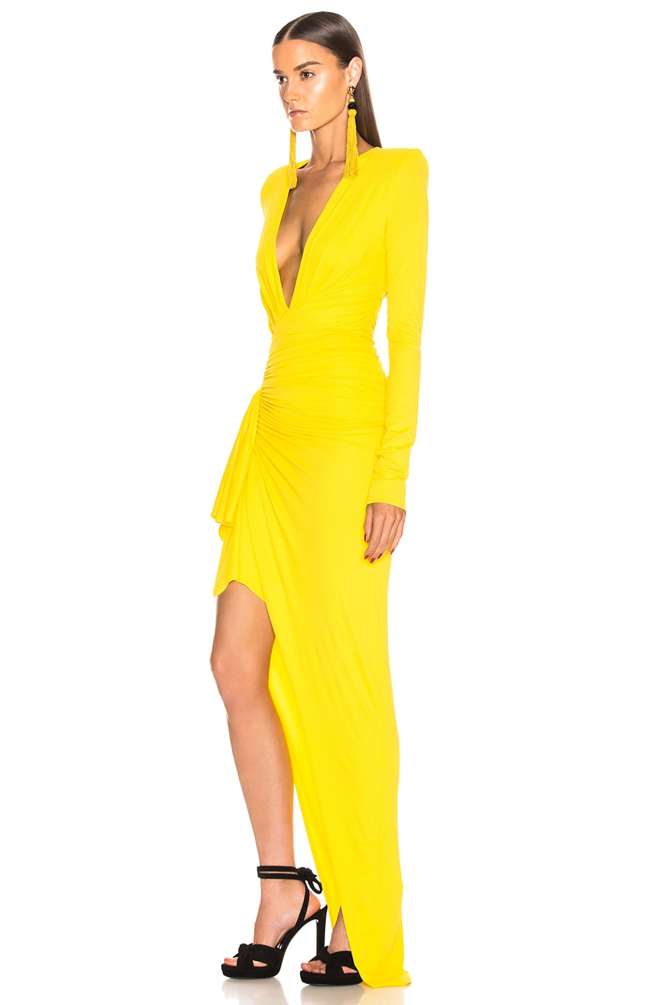 Image 3 of Alexandre Vauthier Jersey Ruched Dress in Lemon