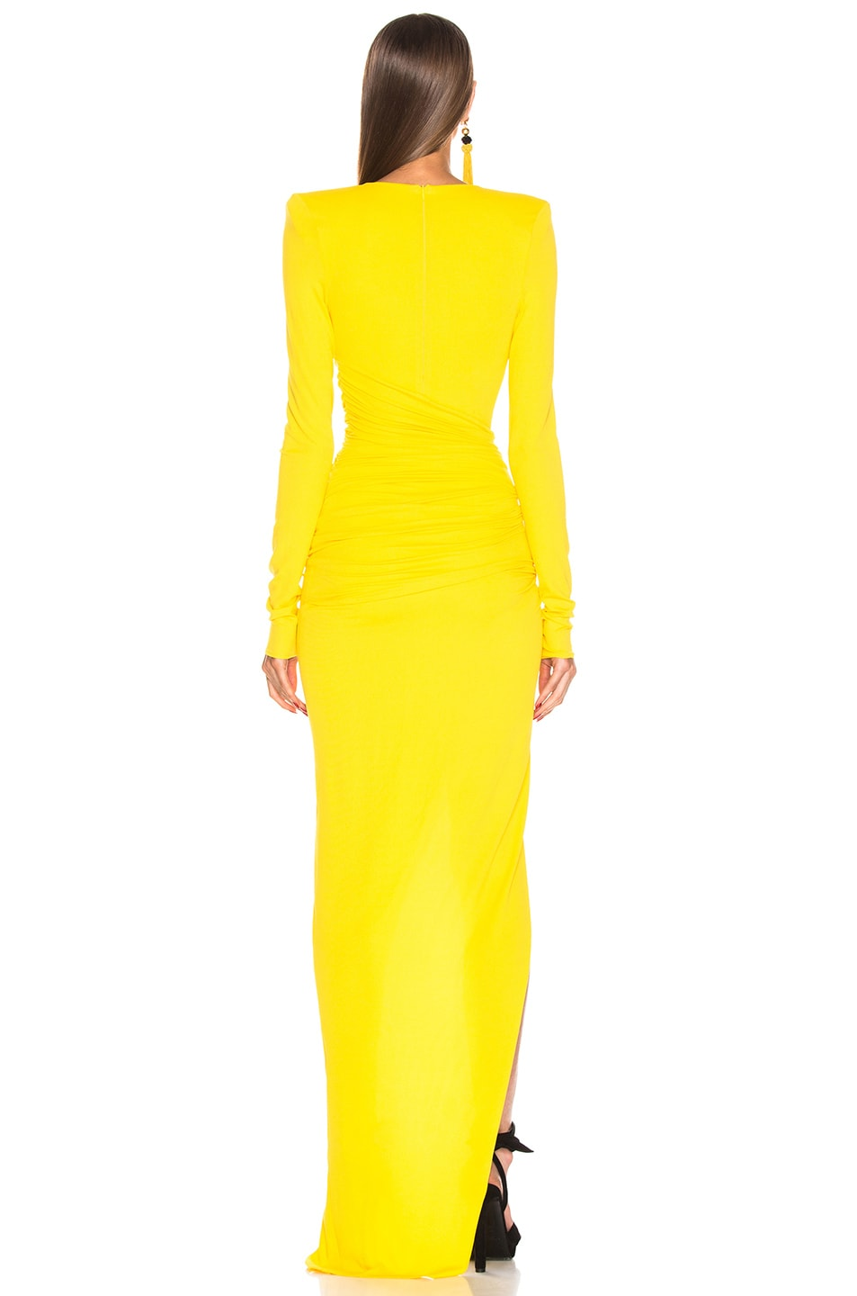 Image 4 of Alexandre Vauthier Jersey Ruched Dress in Lemon