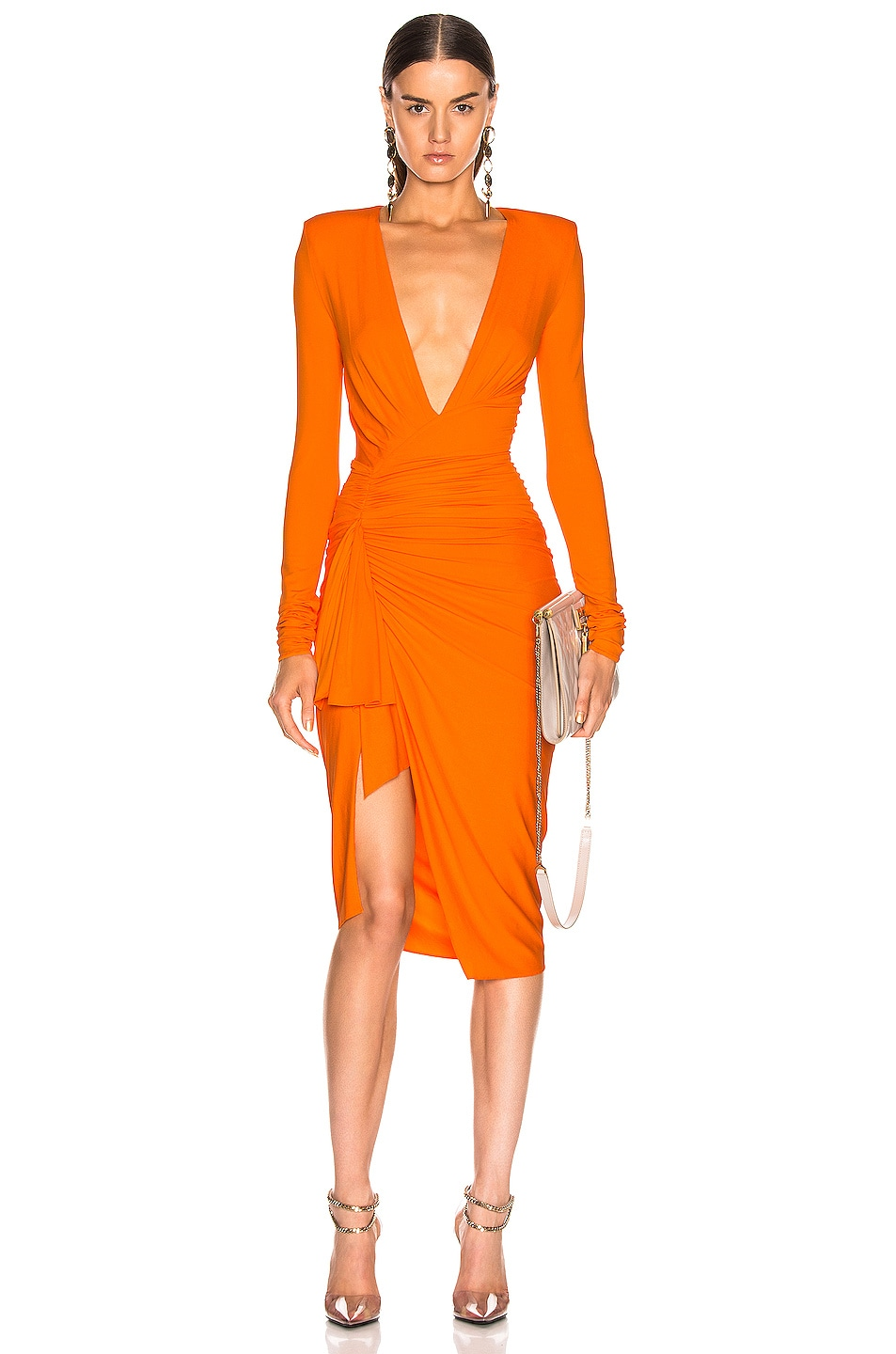 Image 1 of Alexandre Vauthier Jersey Ruched Mini Dress in Tangerine