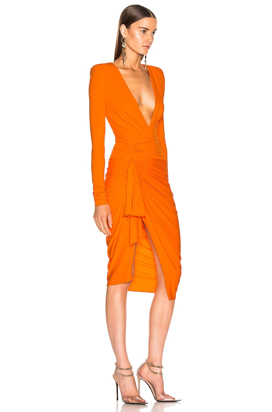 Image 2 of Alexandre Vauthier Jersey Ruched Mini Dress in Tangerine