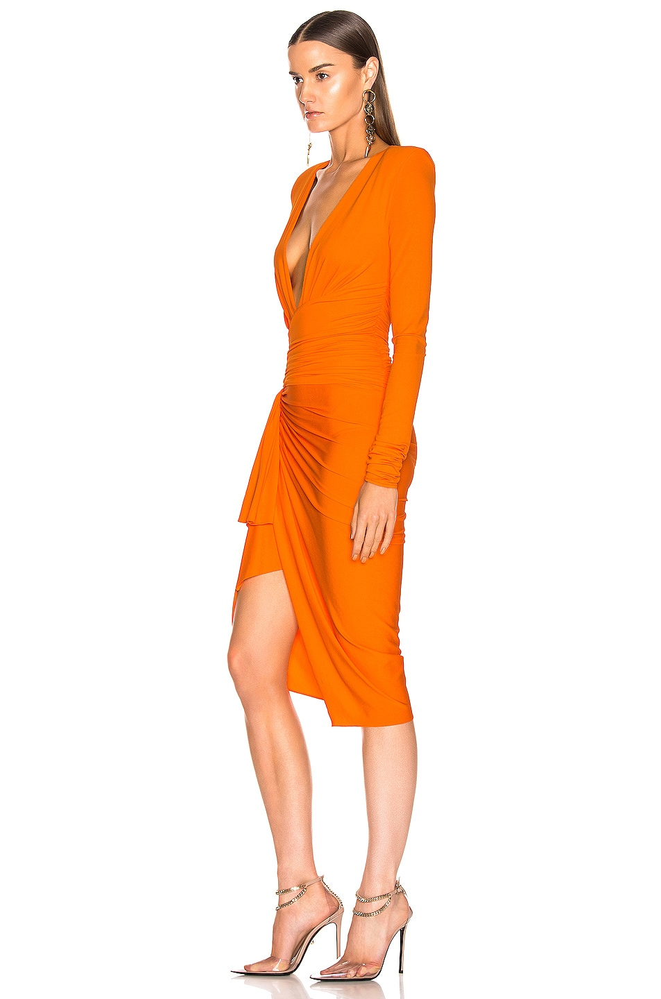 Image 3 of Alexandre Vauthier Jersey Ruched Mini Dress in Tangerine