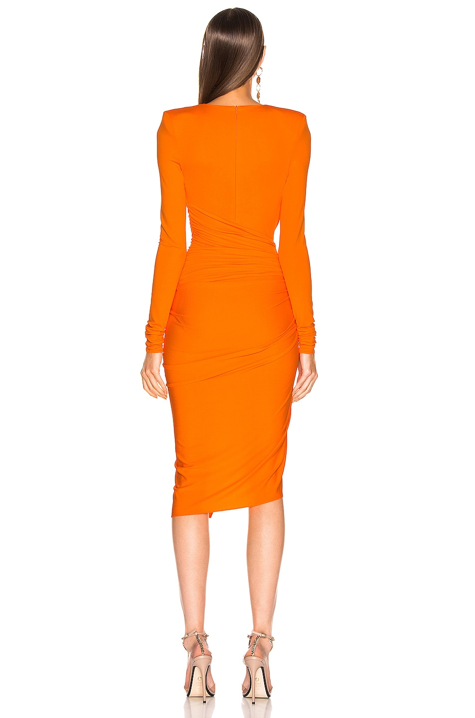 Image 4 of Alexandre Vauthier Jersey Ruched Mini Dress in Tangerine