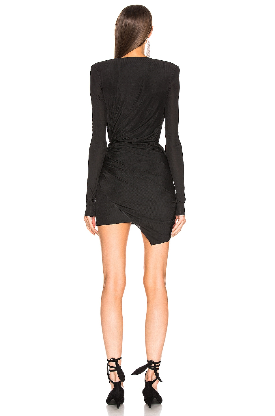 Image 3 of Alexandre Vauthier Plunging Wrap Mini Dress in Black