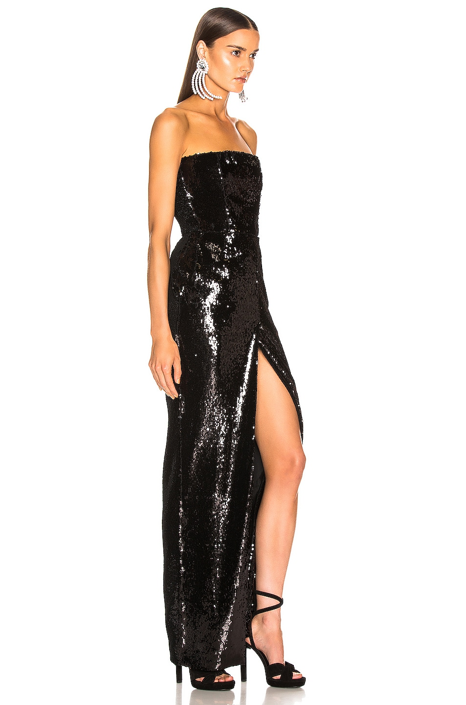 Image 2 of Alexandre Vauthier Strapless Sequin Gown in Black