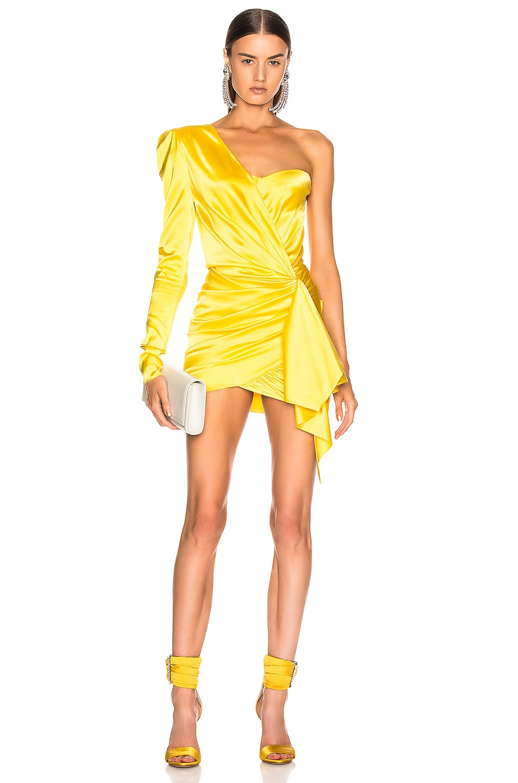 Image 1 of Alexandre Vauthier One Shoulder Wrap Mini Dress in Lemon