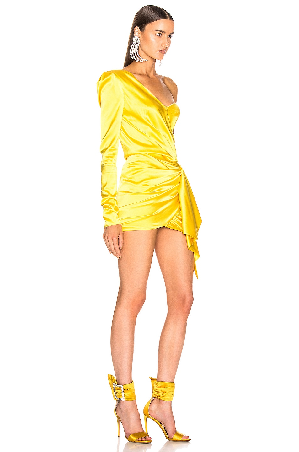 Image 2 of Alexandre Vauthier One Shoulder Wrap Mini Dress in Lemon