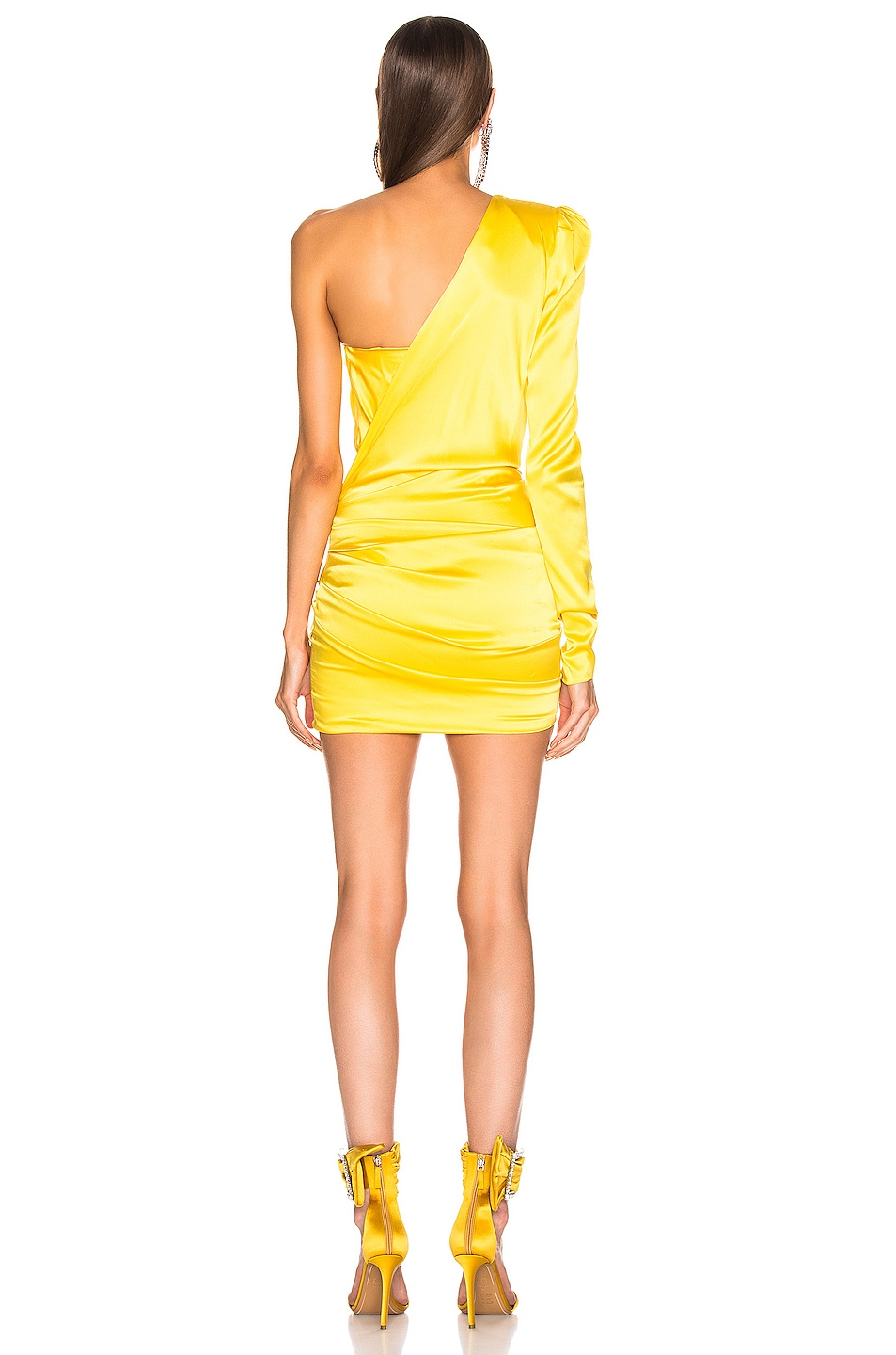 Image 4 of Alexandre Vauthier One Shoulder Wrap Mini Dress in Lemon