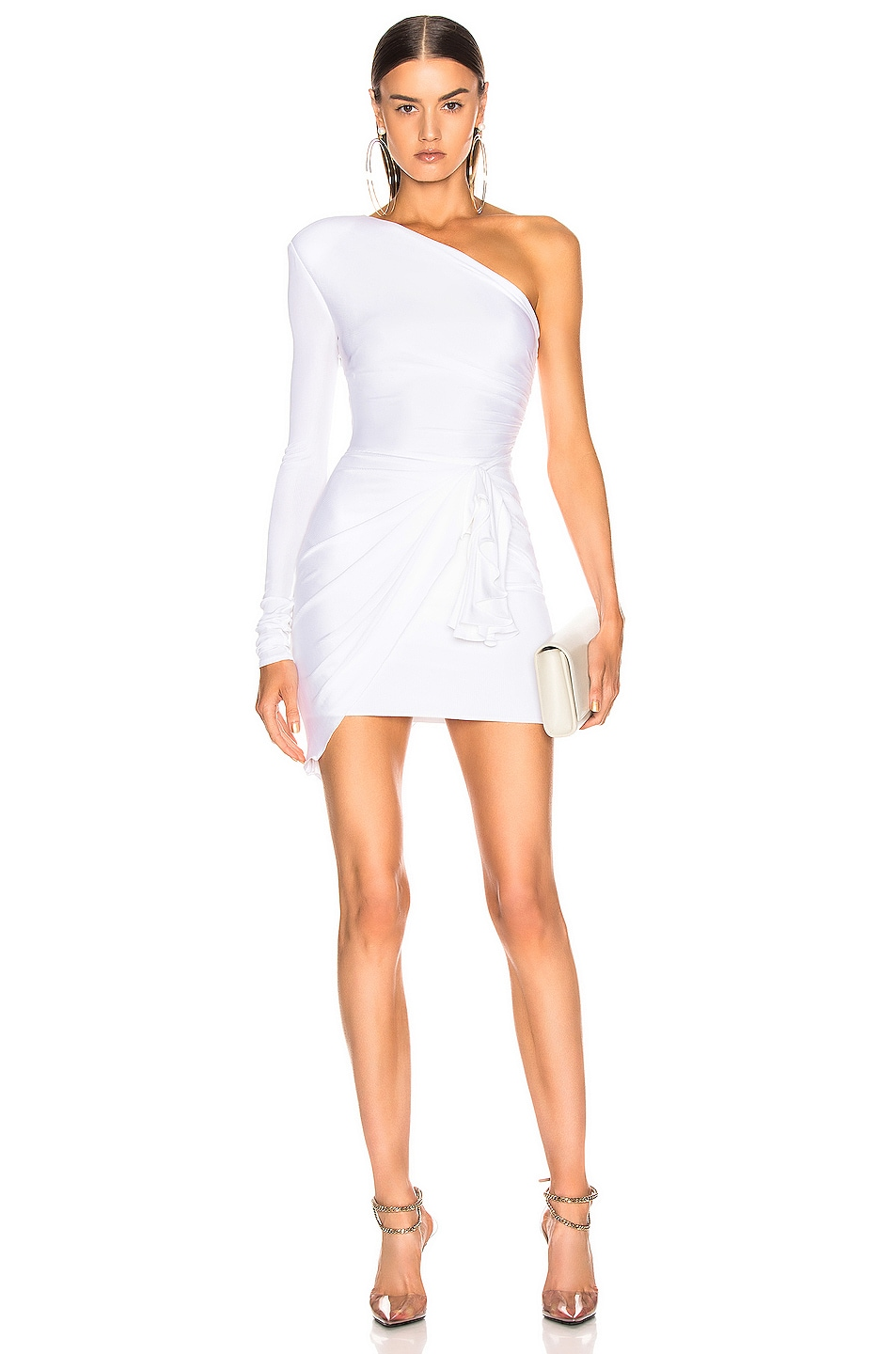 Image 1 of Alexandre Vauthier One Shoulder Wrap Mini Dress in White