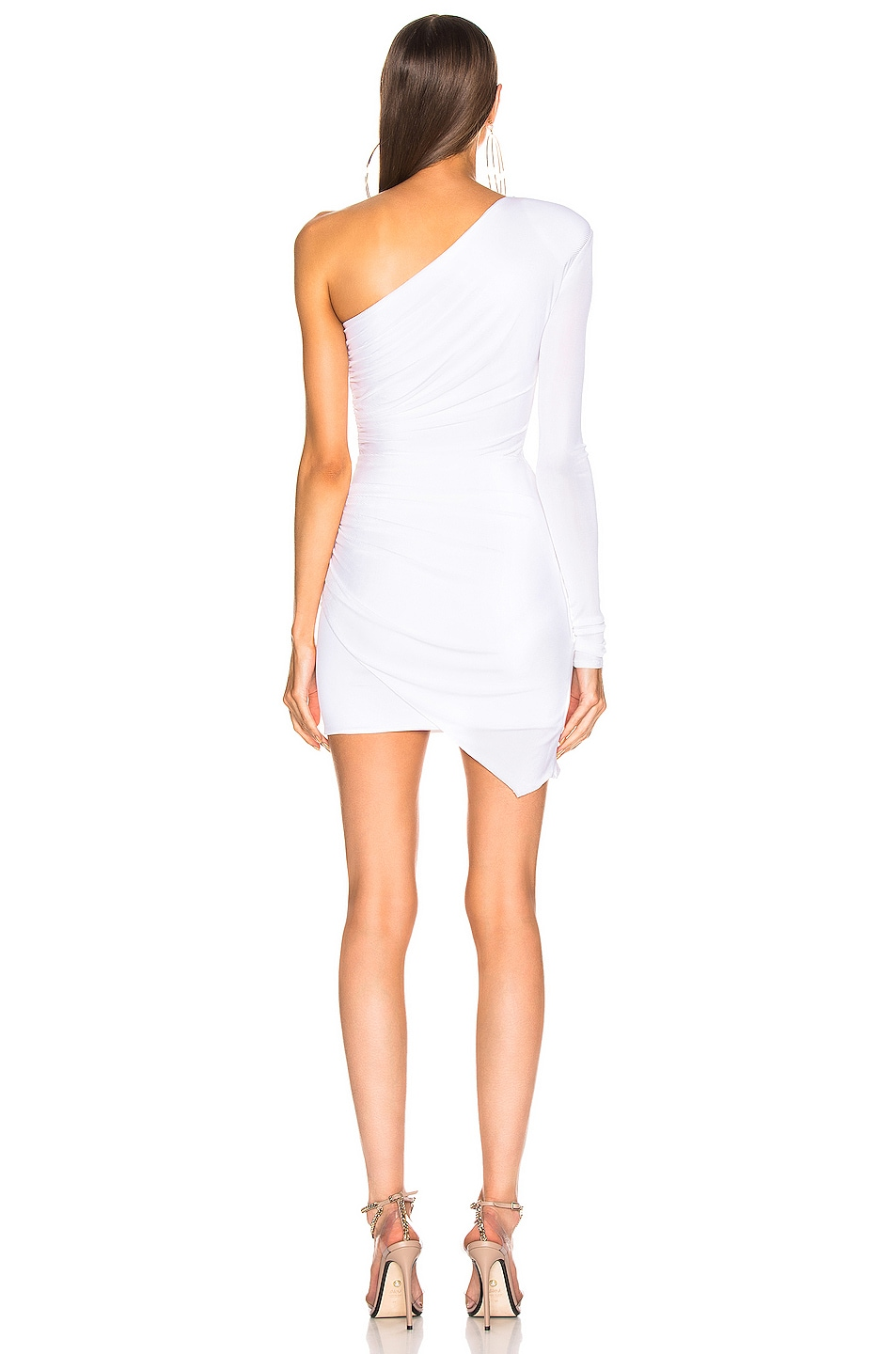 Image 4 of Alexandre Vauthier One Shoulder Wrap Mini Dress in White