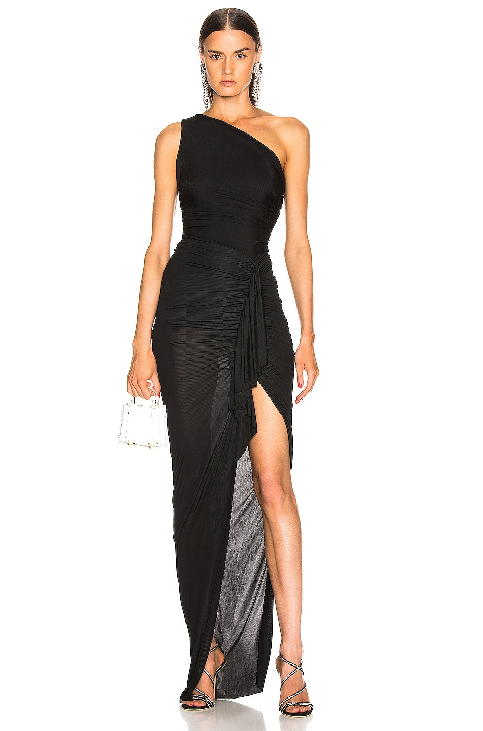 Image 1 of Alexandre Vauthier One Shoulder Maxi Dress in Black
