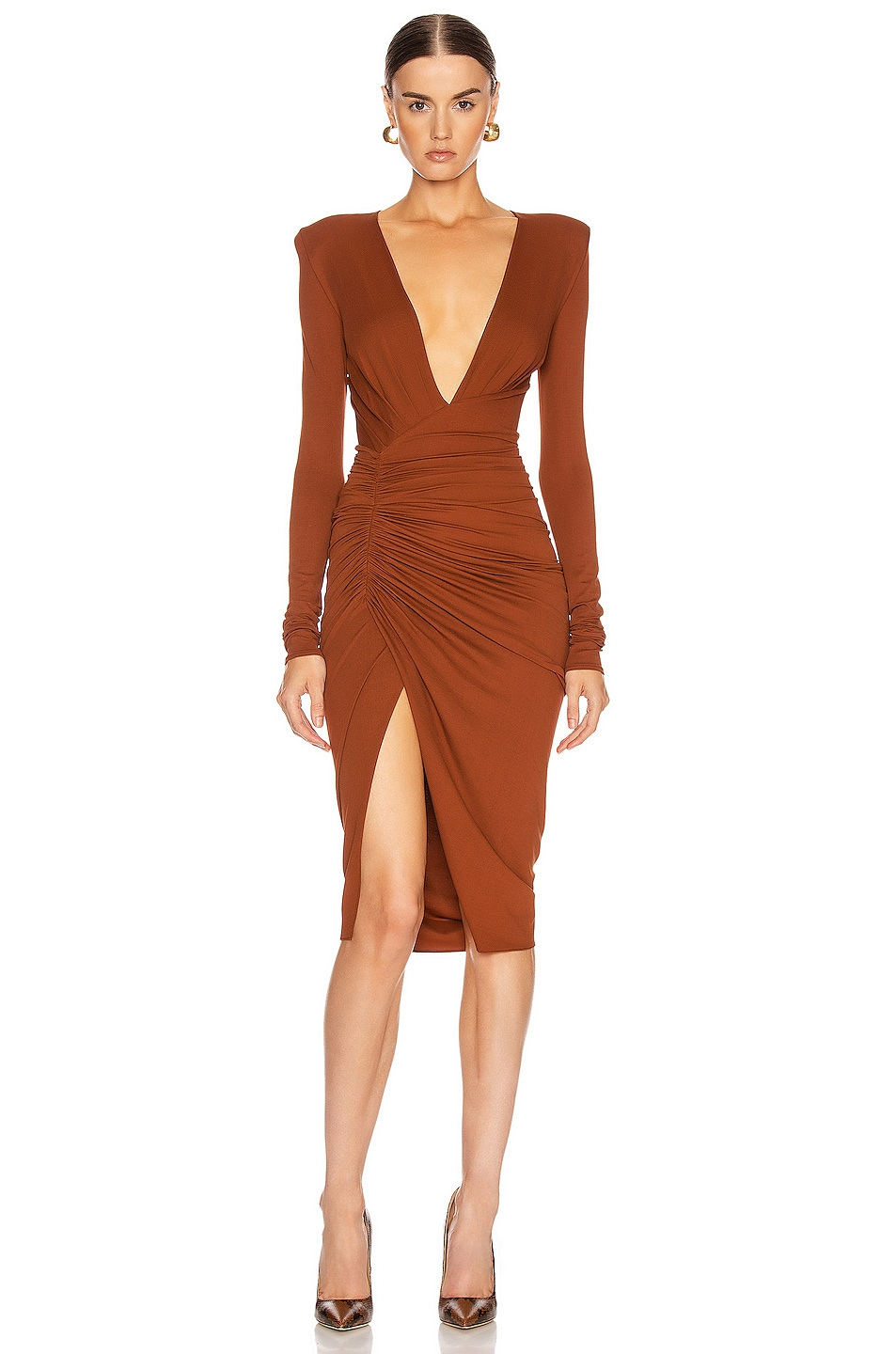 Image 1 of Alexandre Vauthier Ruched Midi Dress in Cinnamon