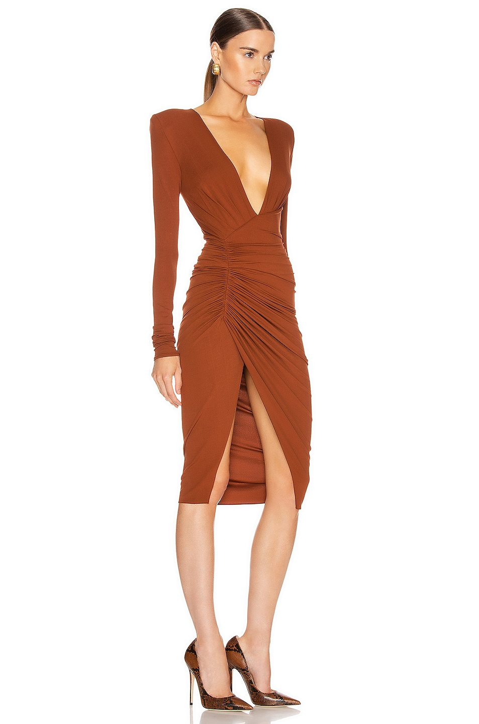 Image 2 of Alexandre Vauthier Ruched Midi Dress in Cinnamon