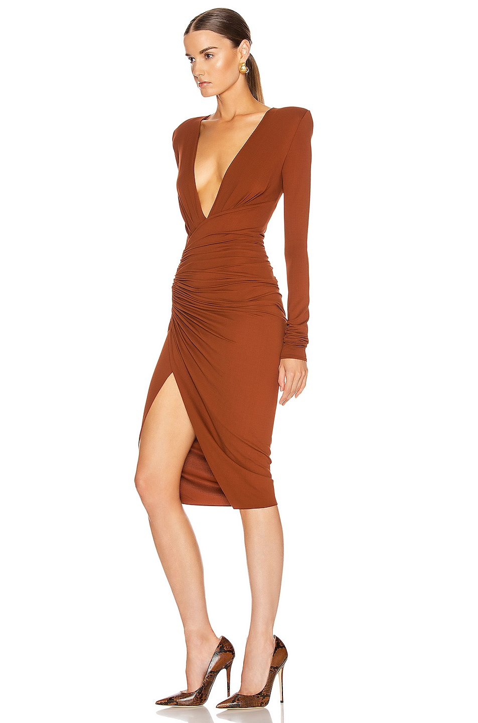 Image 3 of Alexandre Vauthier Ruched Midi Dress in Cinnamon