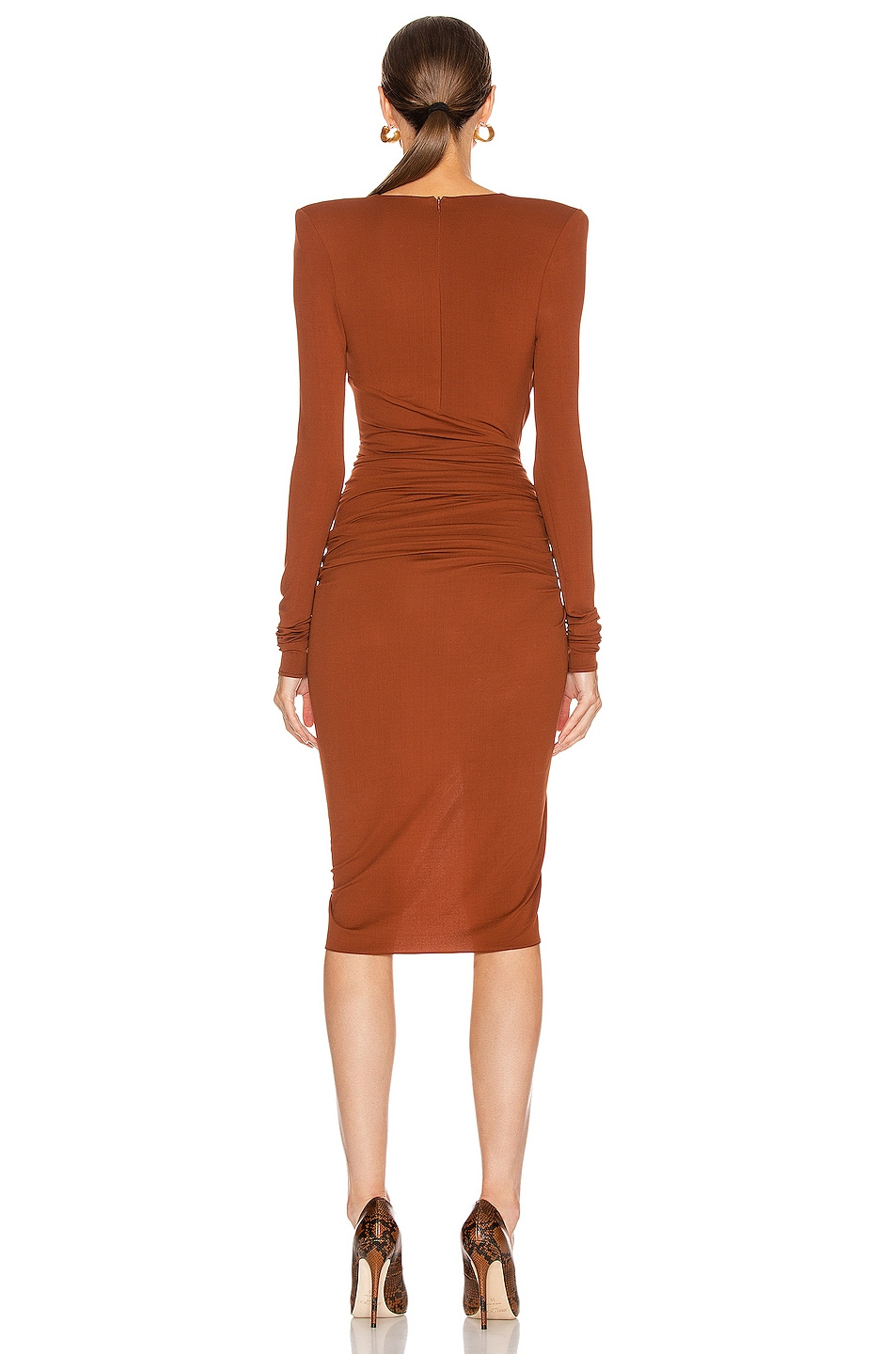 Image 4 of Alexandre Vauthier Ruched Midi Dress in Cinnamon