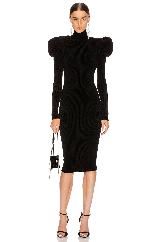 Image 1 of Alexandre Vauthier Ruched Shoulder Midi Dress in Black