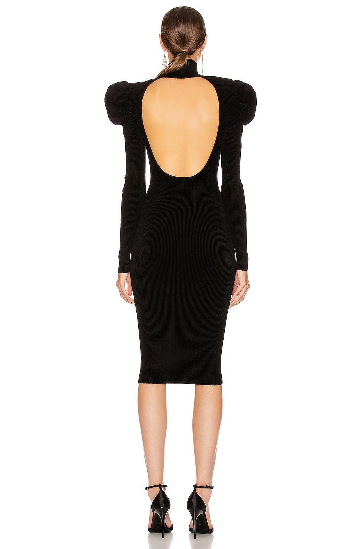 Image 3 of Alexandre Vauthier Ruched Shoulder Midi Dress in Black