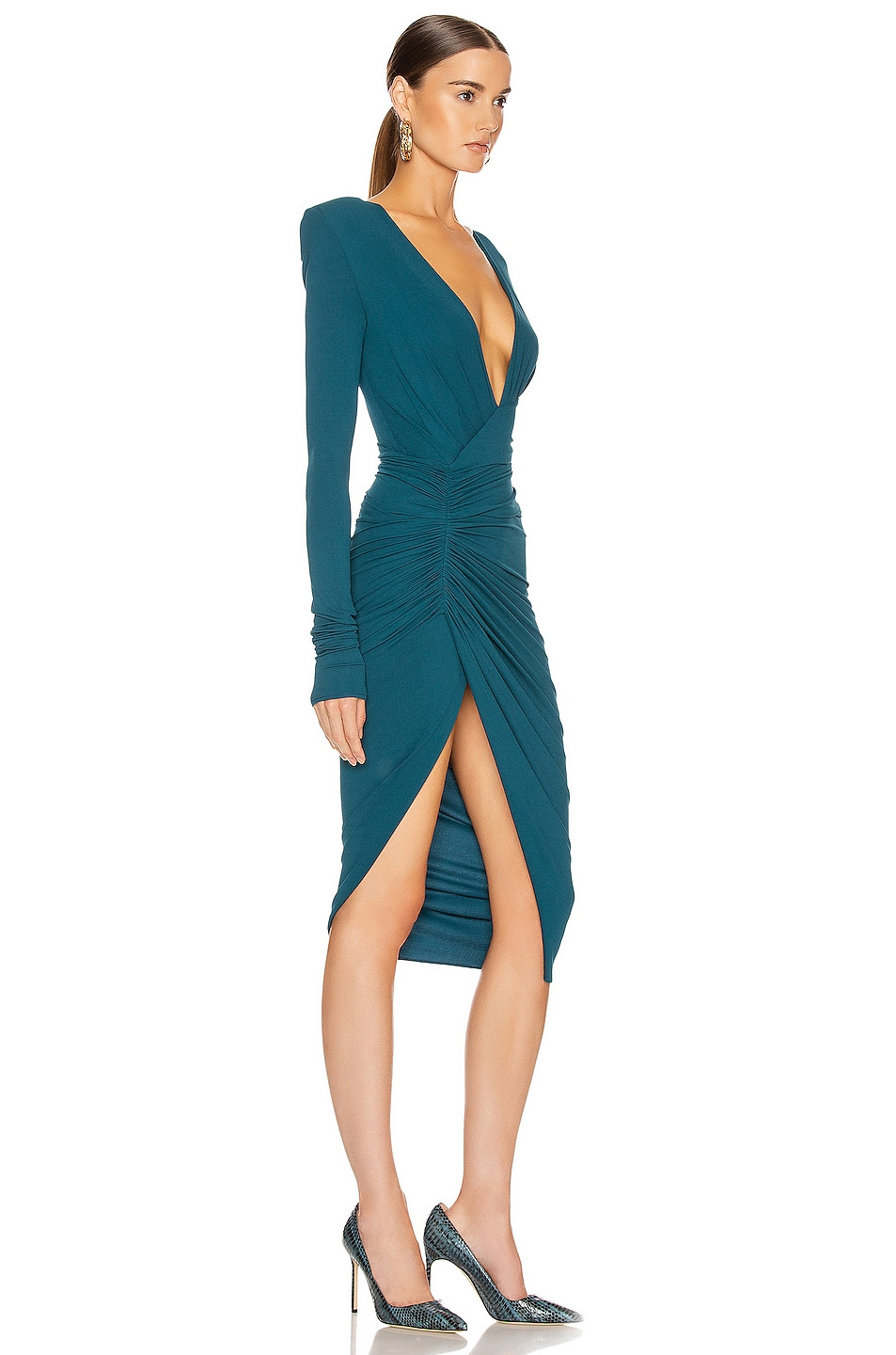 Image 2 of Alexandre Vauthier Ruched Midi Dress in Cobalt