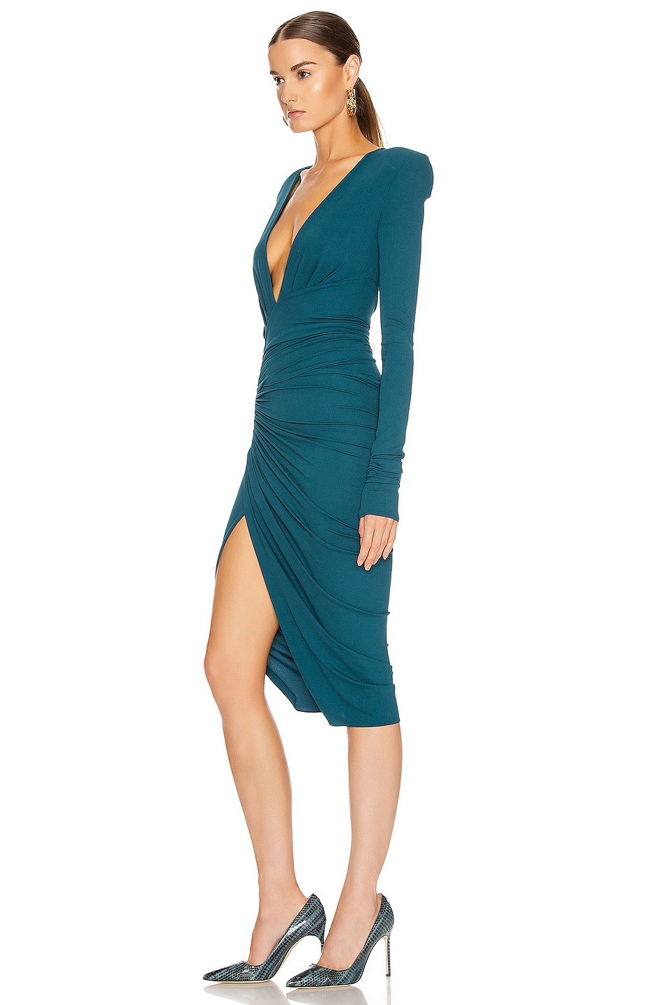 Image 3 of Alexandre Vauthier Ruched Midi Dress in Cobalt