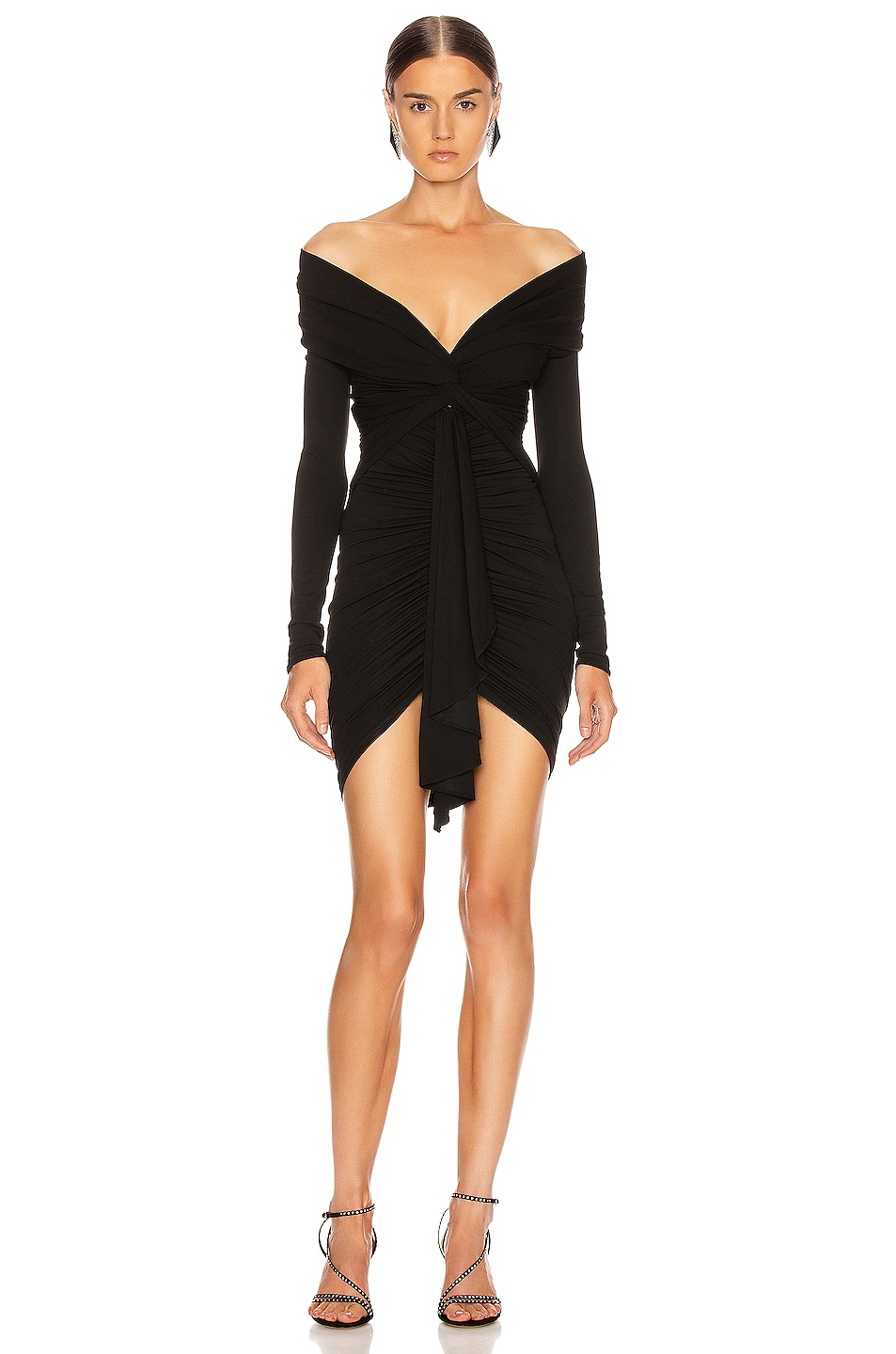 Image 1 of Alexandre Vauthier Ruched Tie Mini Dress in Black