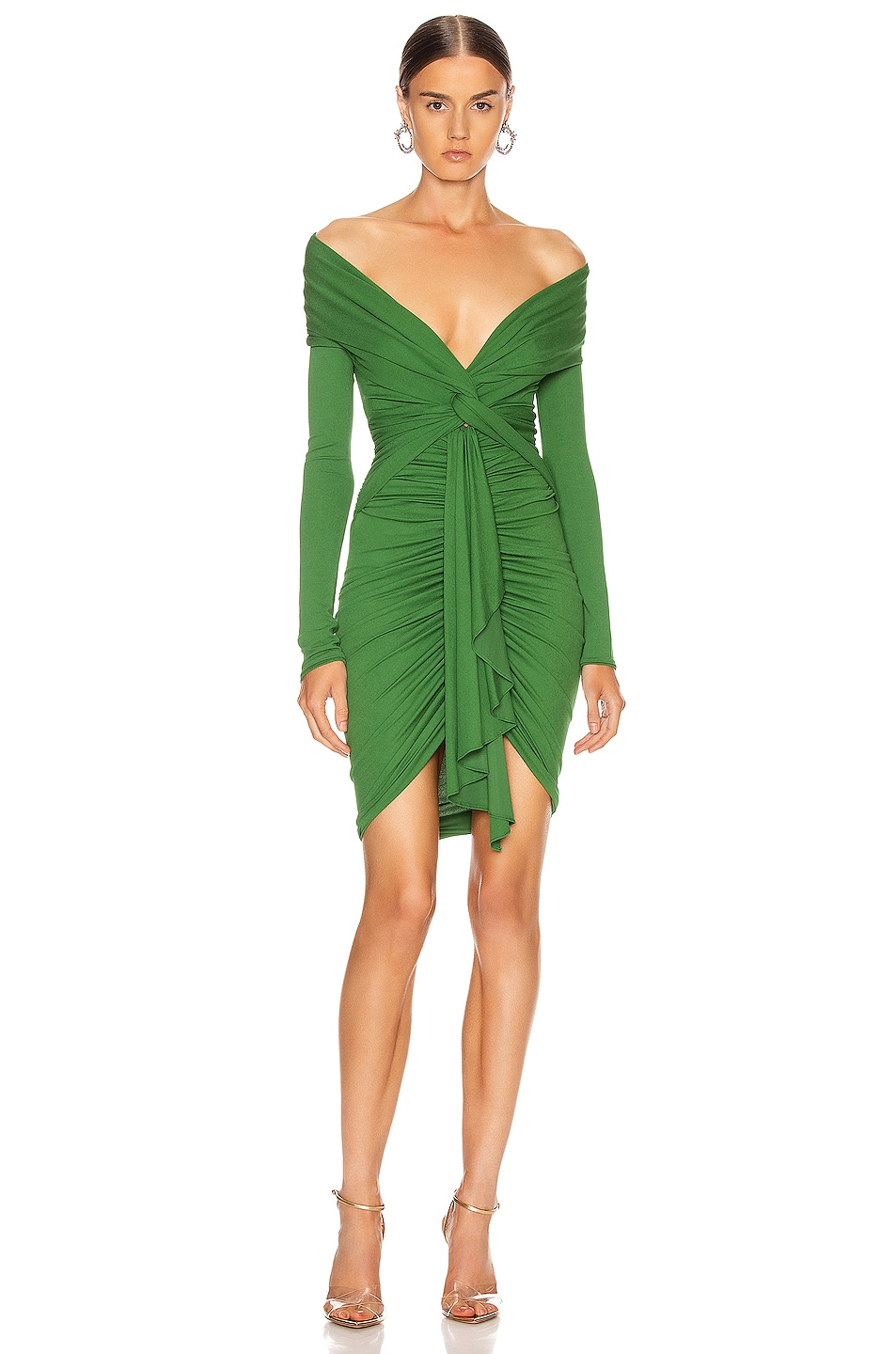 Image 1 of Alexandre Vauthier Ruched Tie Mini Dress in Moss