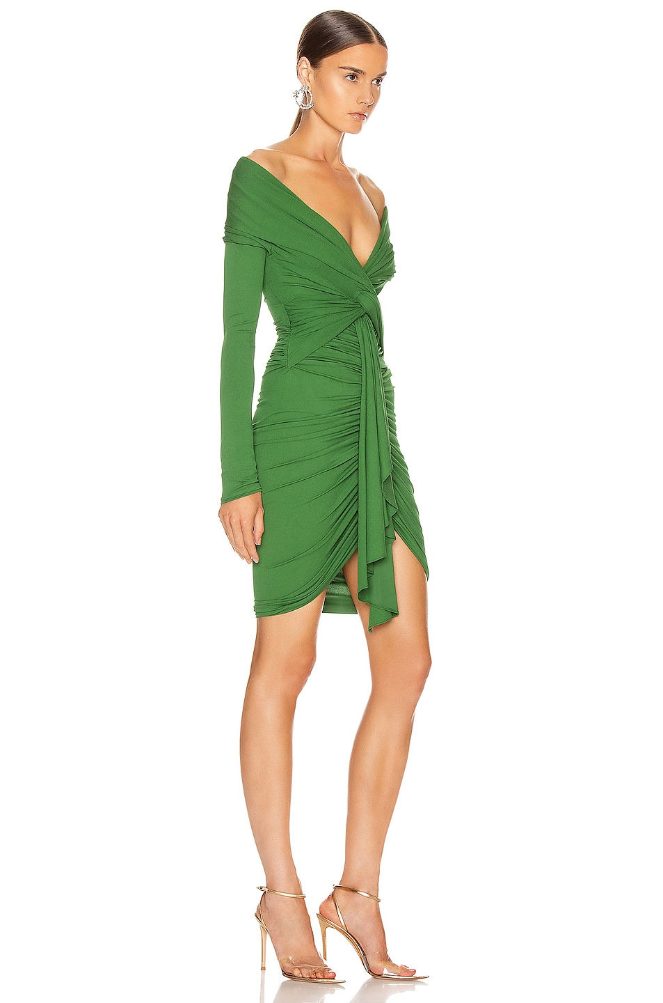 Image 2 of Alexandre Vauthier Ruched Tie Mini Dress in Moss