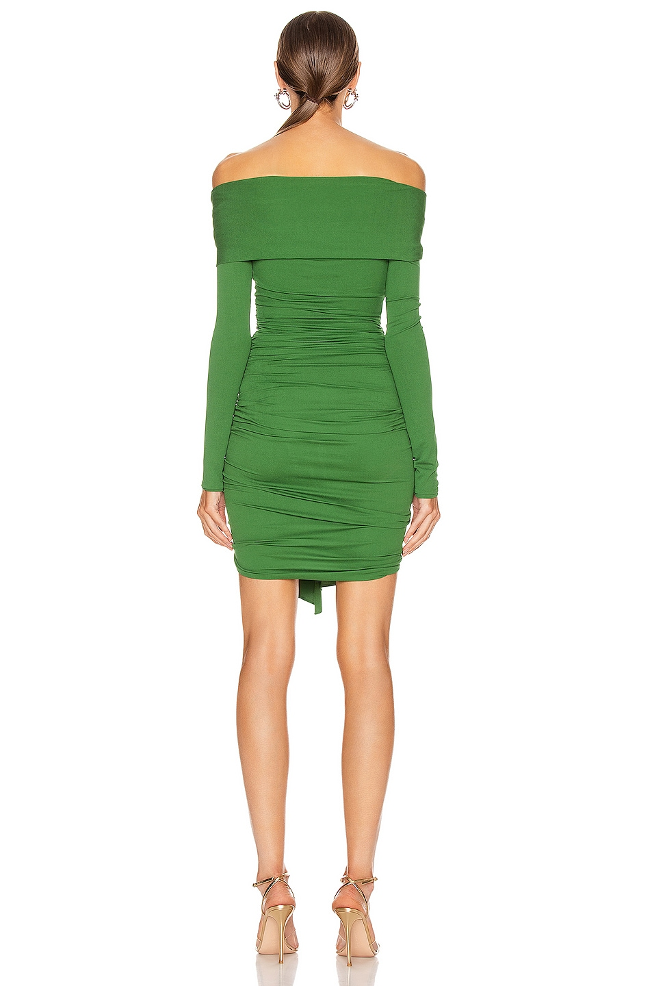 Image 3 of Alexandre Vauthier Ruched Tie Mini Dress in Moss
