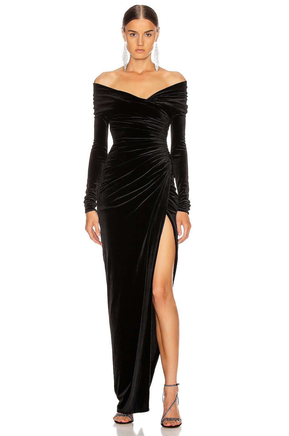 Image 1 of Alexandre Vauthier Off the Shoulder Ruched Velvet Gown in Black