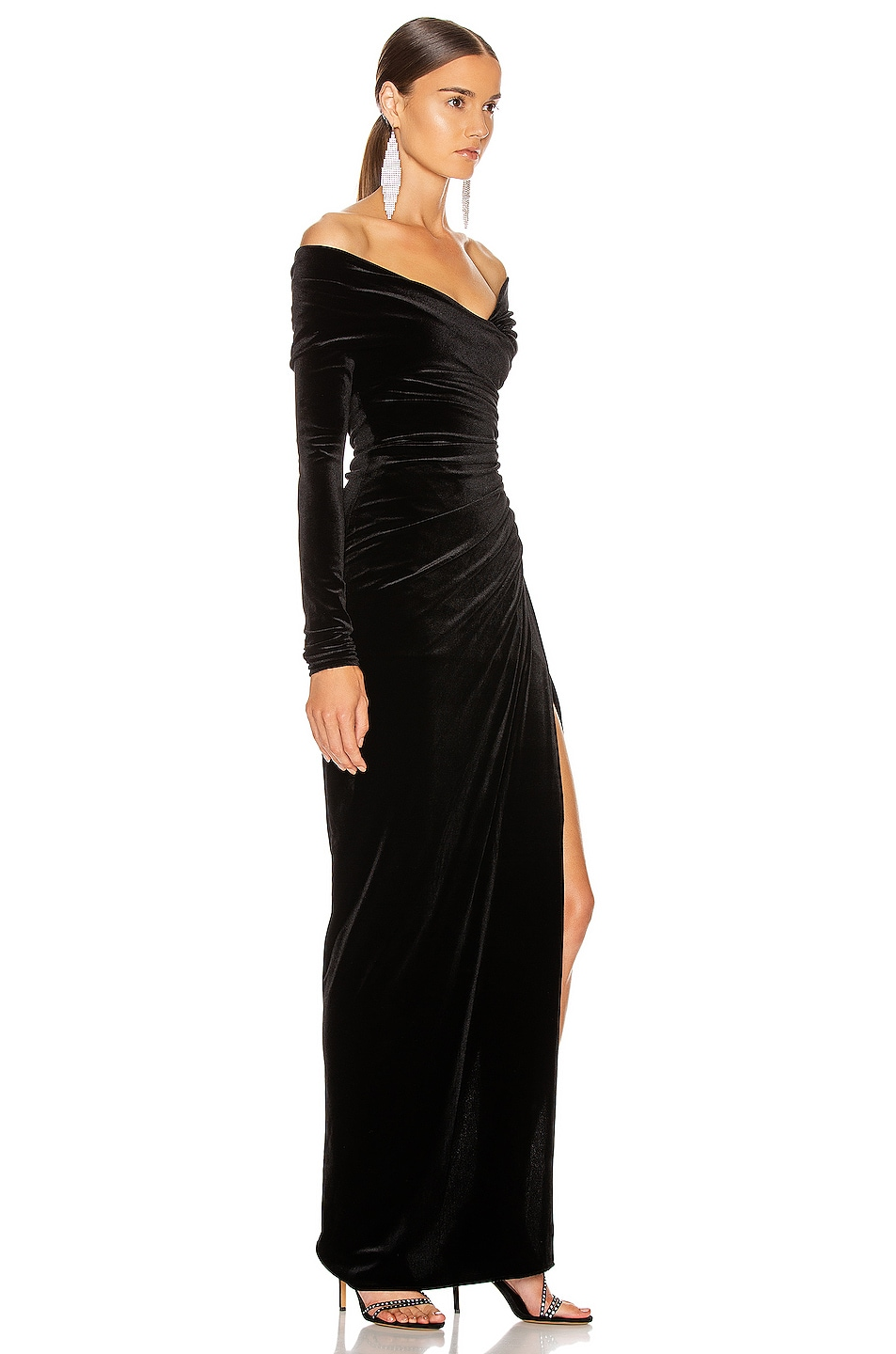 Image 2 of Alexandre Vauthier Off the Shoulder Ruched Velvet Gown in Black