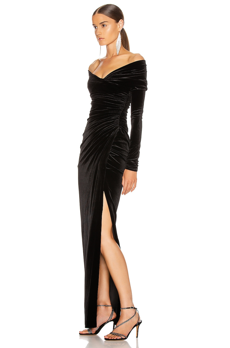 Image 3 of Alexandre Vauthier Off the Shoulder Ruched Velvet Gown in Black