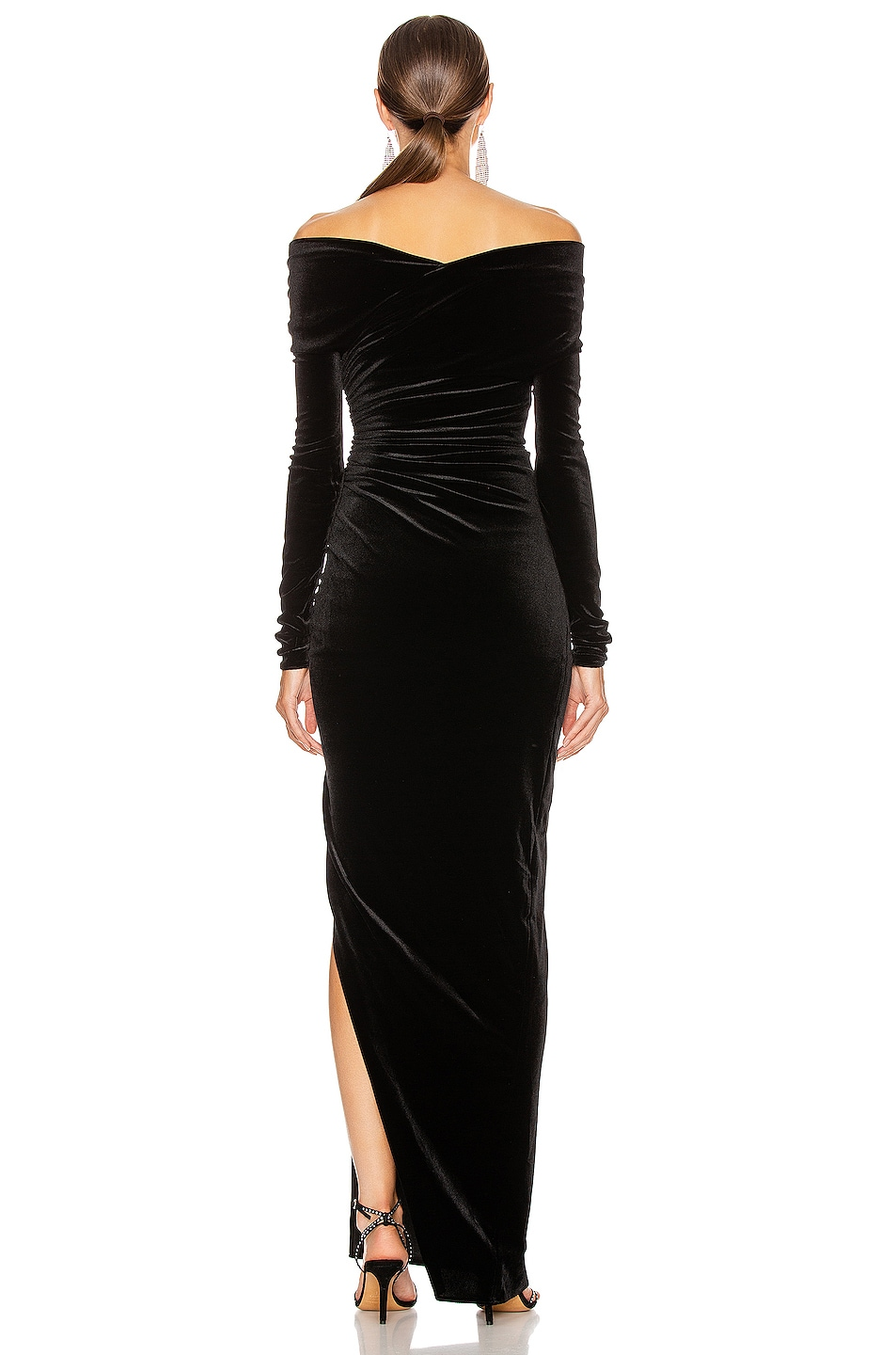 Image 4 of Alexandre Vauthier Off the Shoulder Ruched Velvet Gown in Black