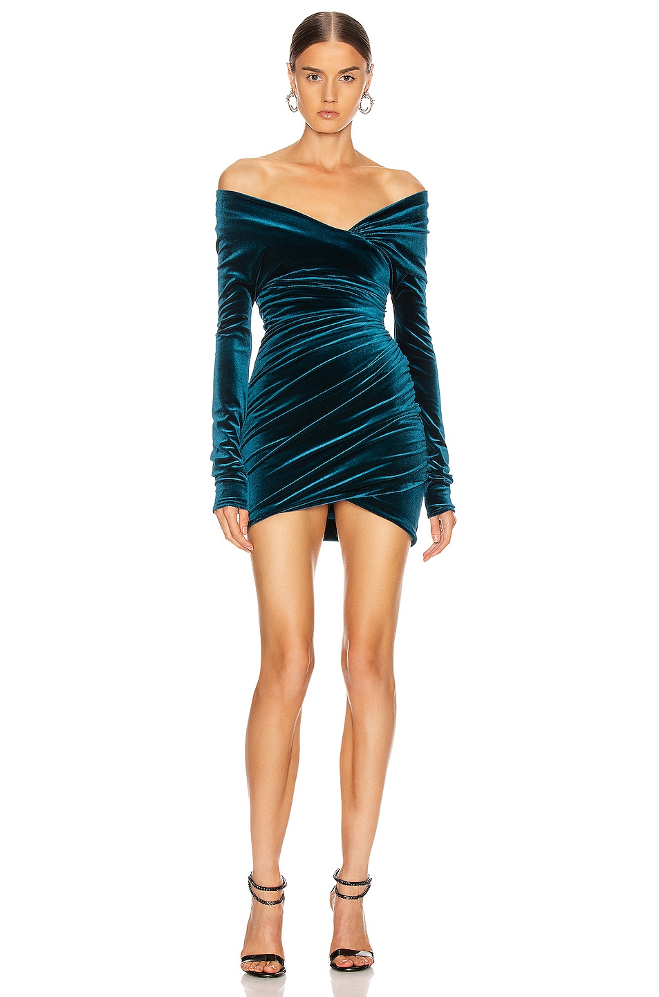 Image 1 of Alexandre Vauthier Off the Shoulder Ruched Mini Dress in Cobalt
