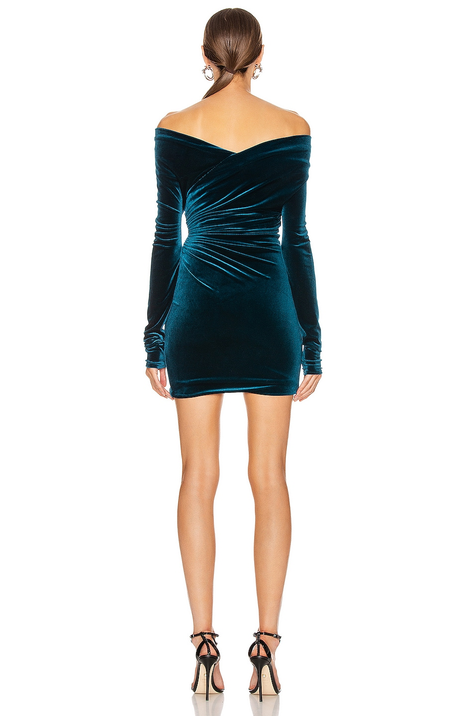 Image 3 of Alexandre Vauthier Off the Shoulder Ruched Mini Dress in Cobalt