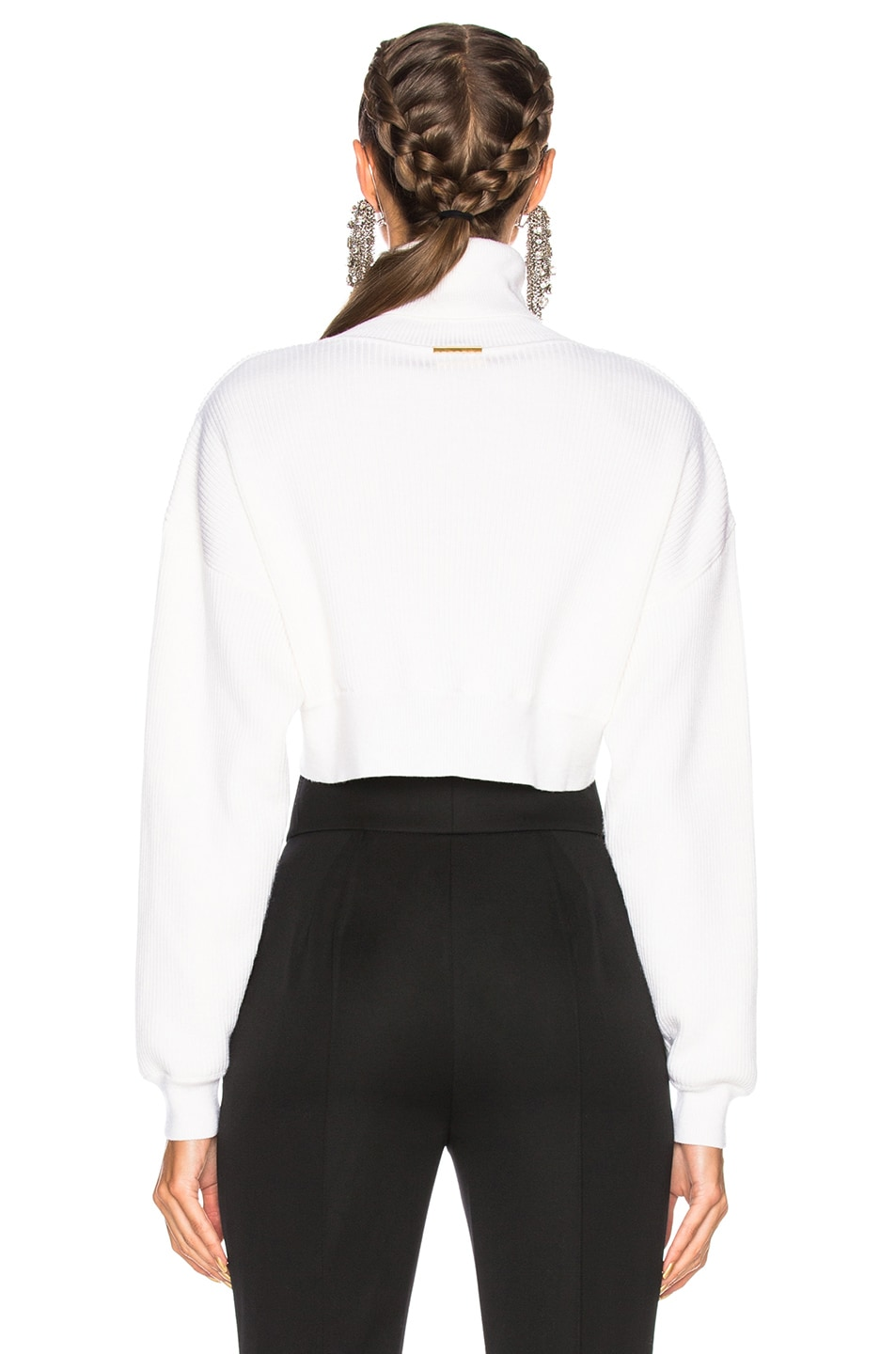 Alexandre Vauthier Rib Knit Cropped Sweater in Off White | FWRD